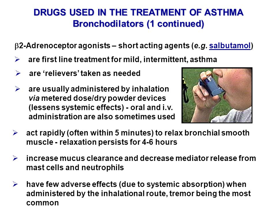 DRUGS USED IN THE TREATMENT OF ASTHMA Bronchodilators (1 continued)