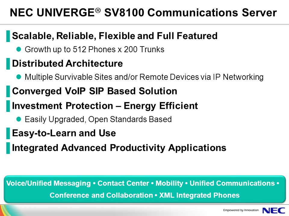 NEC UNIVERGE SV8100 Communications Server