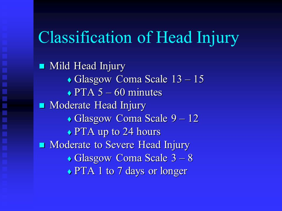Classification of Head Injury