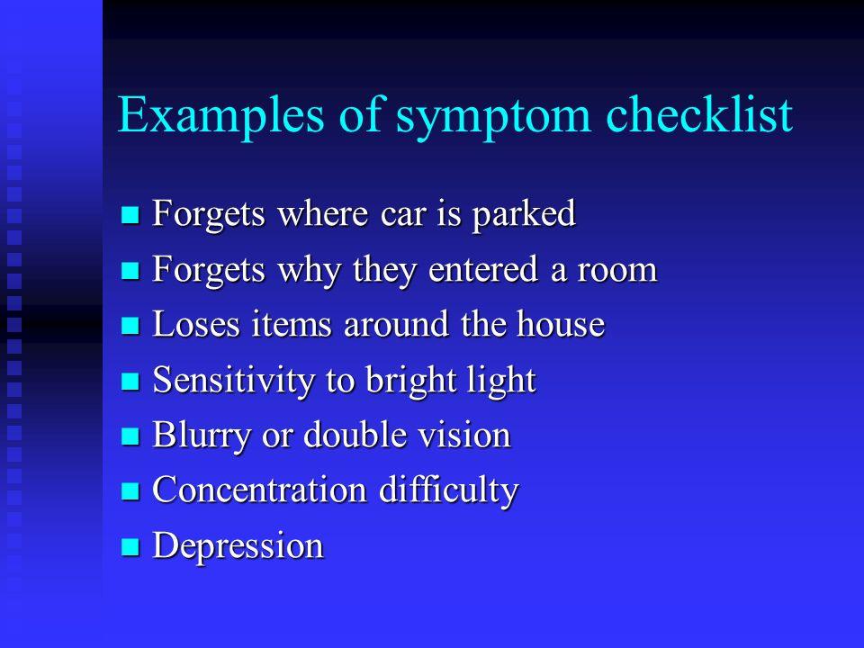 Examples of symptom checklist