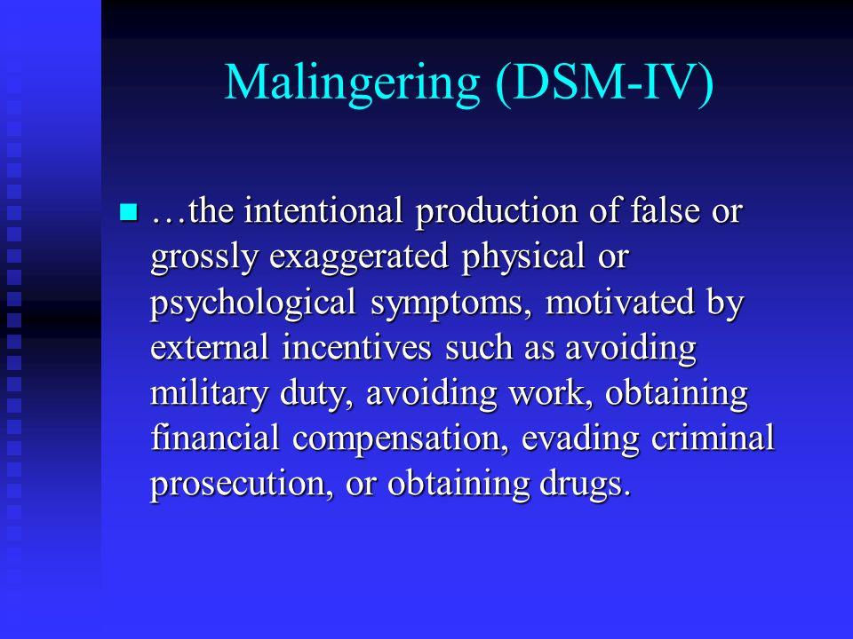 Malingering (DSM-IV)