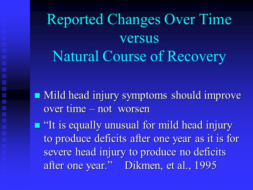 Reported Changes Over Time versus Natural Course of Recovery