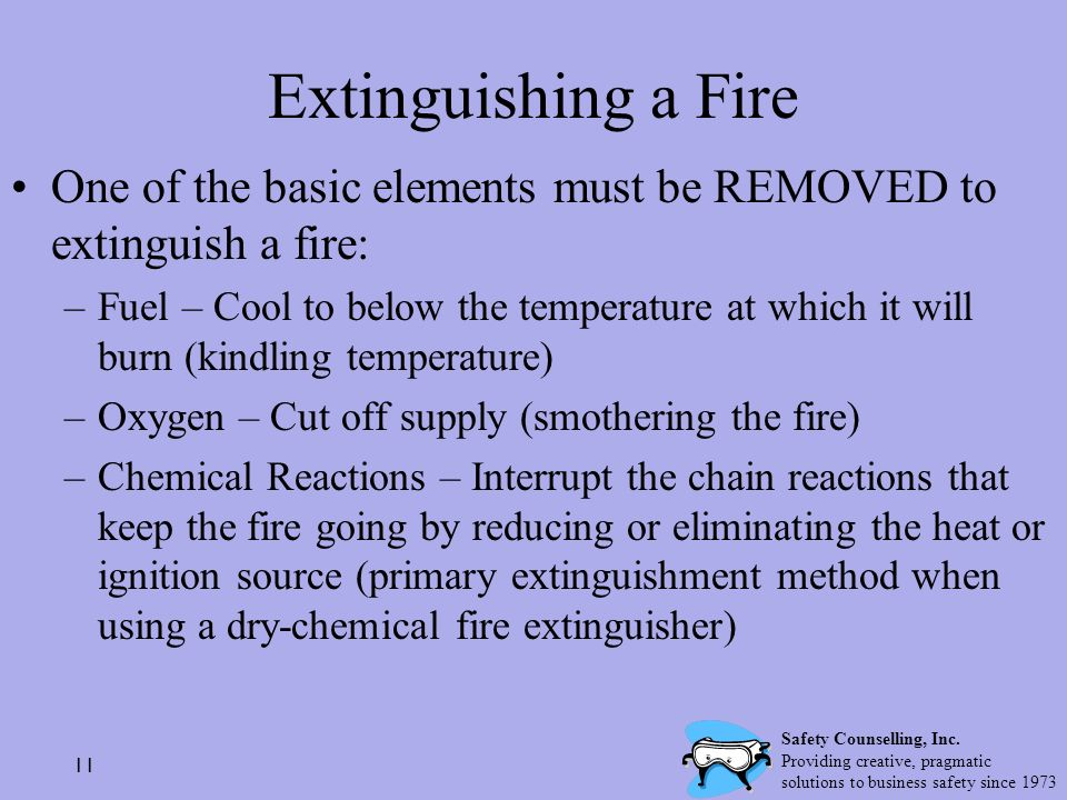 Extinguishing a Fire One of the basic elements must be REMOVED to extinguish a fire: