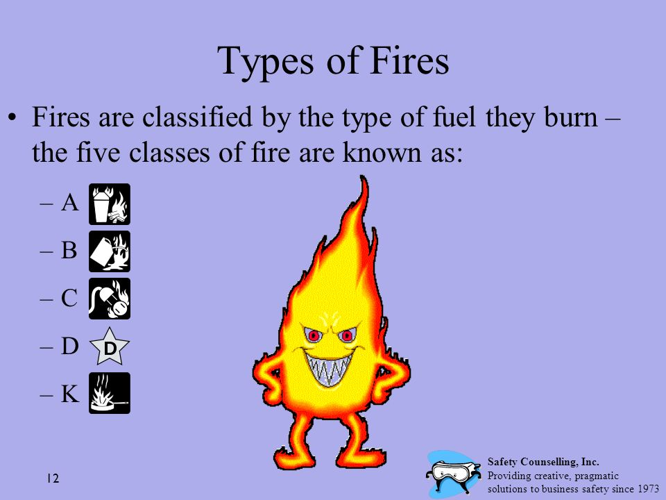 Types of Fires Fires are classified by the type of fuel they burn – the five classes of fire are known as: