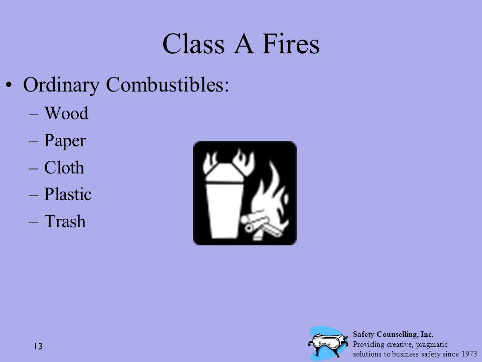 Class A Fires Ordinary Combustibles: Wood Paper Cloth Plastic Trash