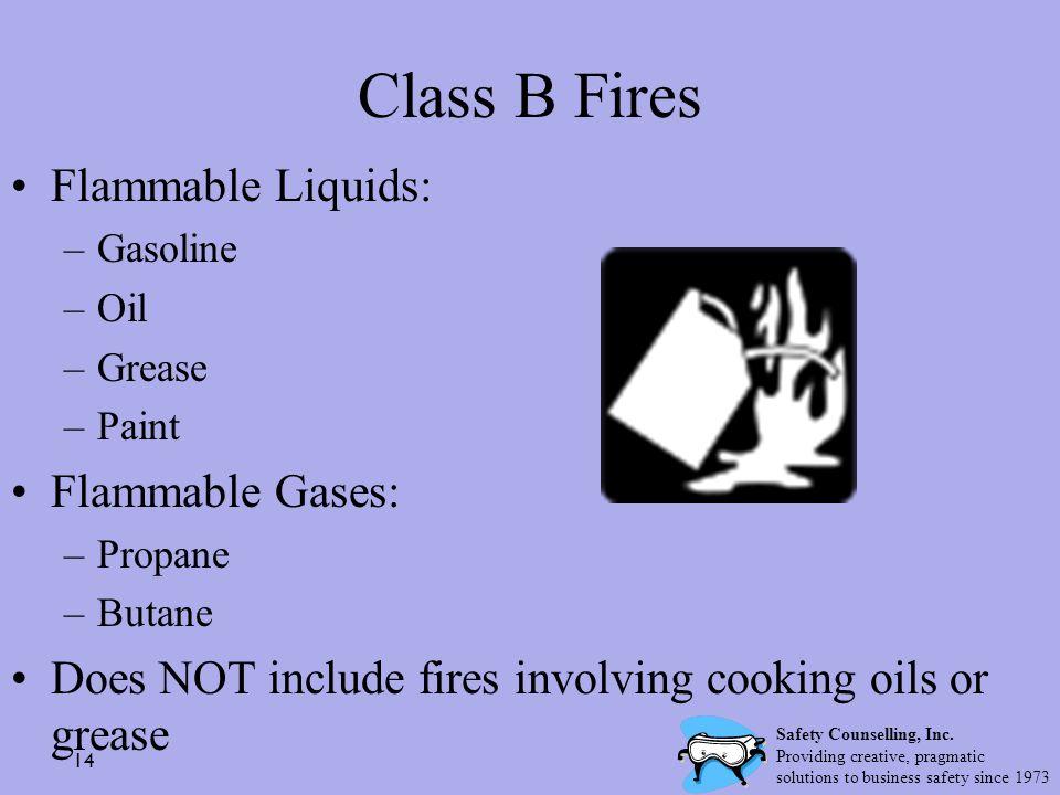 Class B Fires Flammable Liquids: Flammable Gases: