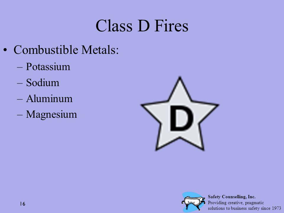 Class D Fires Combustible Metals: Potassium Sodium Aluminum Magnesium