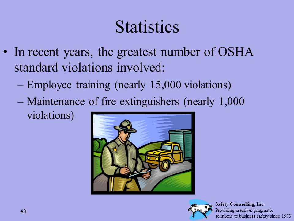 Statistics In recent years, the greatest number of OSHA standard violations involved: Employee training (nearly 15,000 violations)