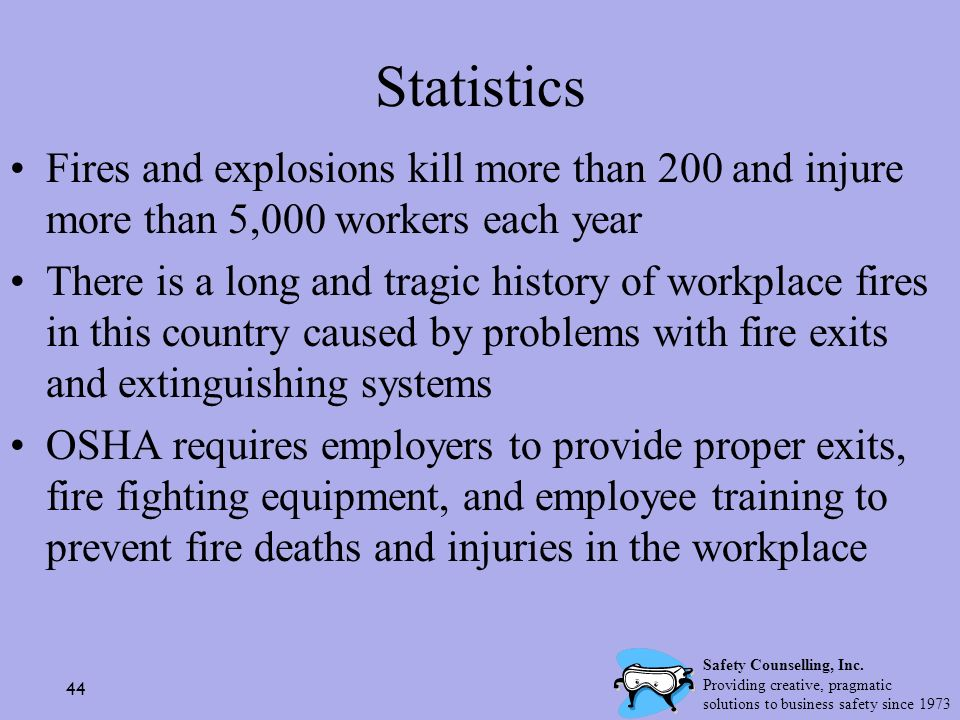 Statistics Fires and explosions kill more than 200 and injure more than 5,000 workers each year.