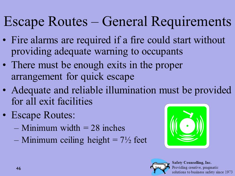 Escape Routes – General Requirements