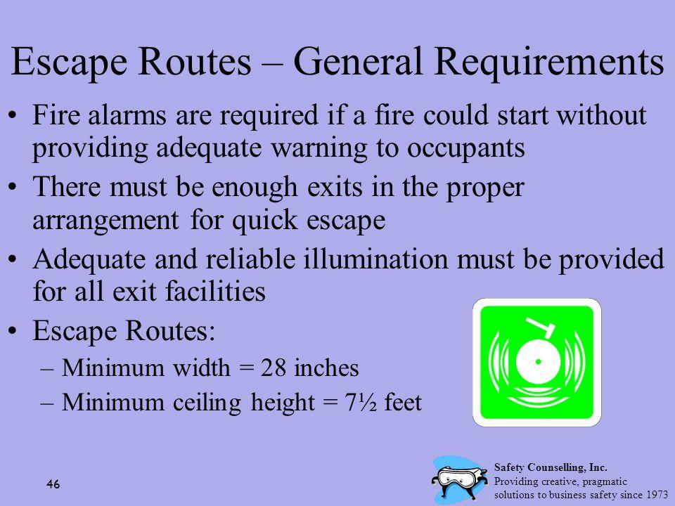 Escape Routes – General Requirements