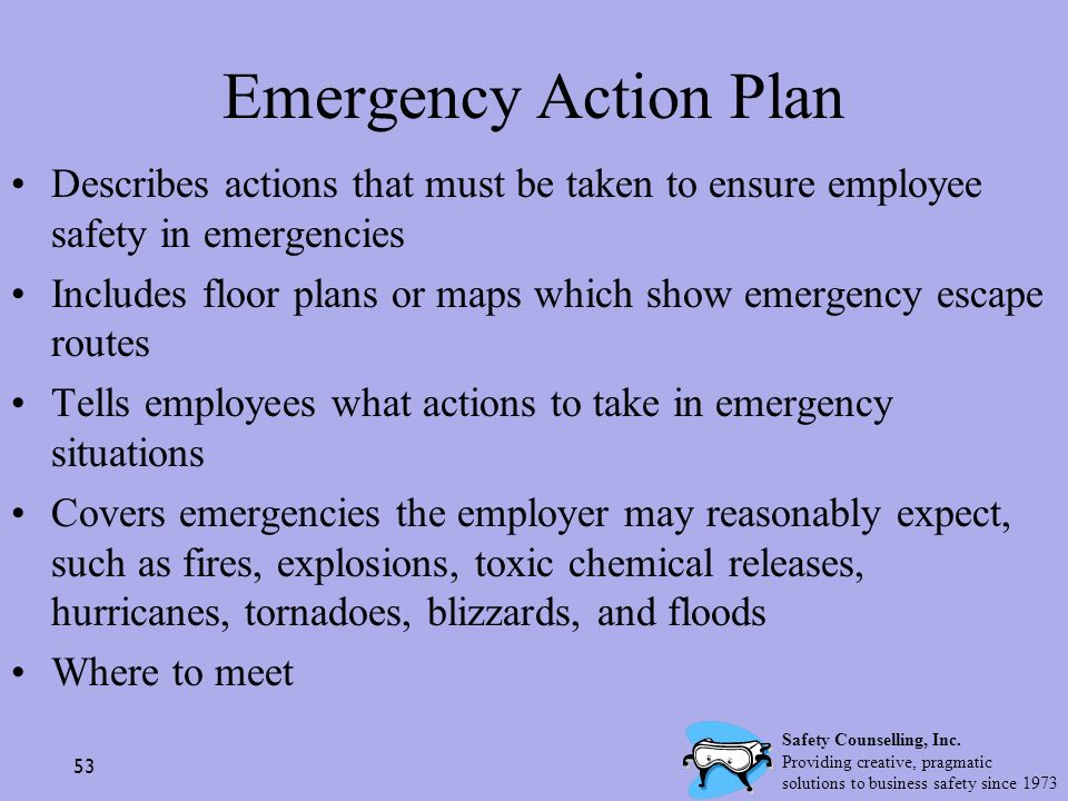 Emergency Action Plan Describes actions that must be taken to ensure employee safety in emergencies.