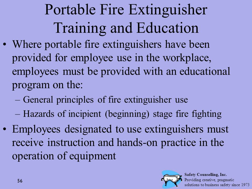 Portable Fire Extinguisher Training and Education