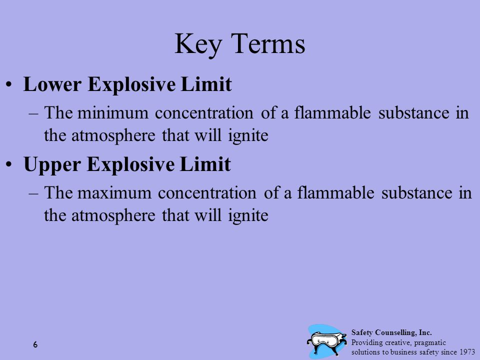 Key Terms Lower Explosive Limit Upper Explosive Limit
