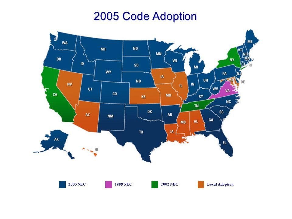 2005 Code Adoption 2005 NEC 1999 NEC 2002 NEC Local Adoption