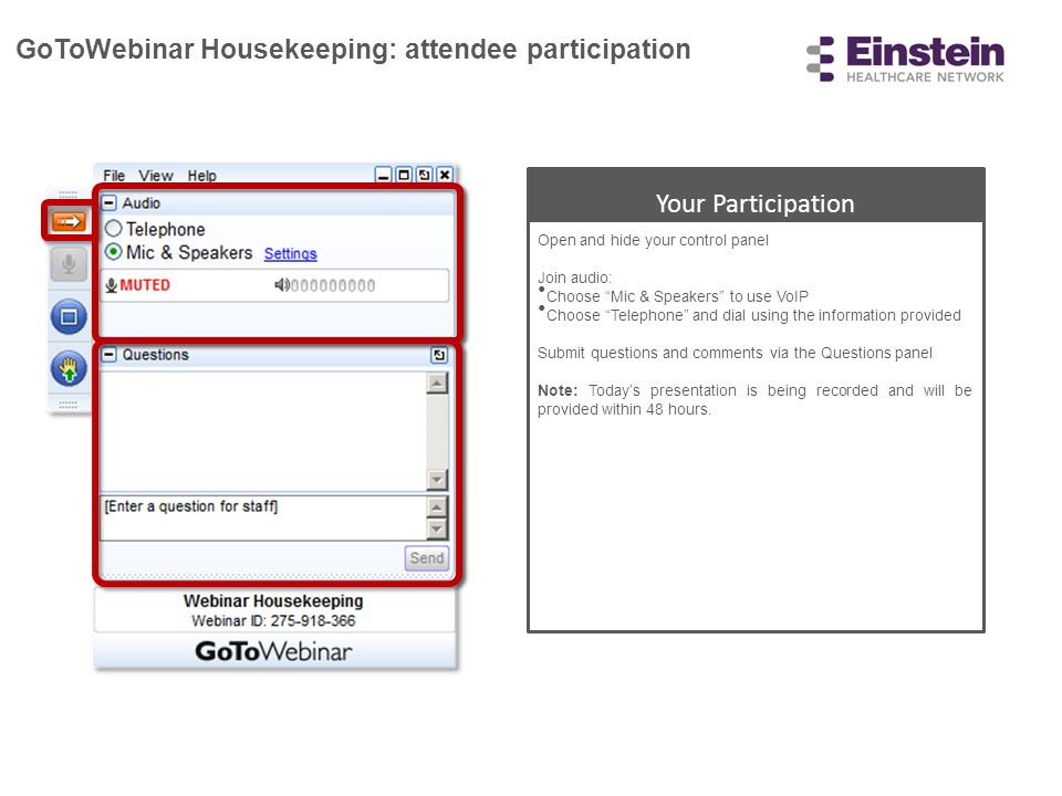 GoToWebinar Housekeeping: attendee participation