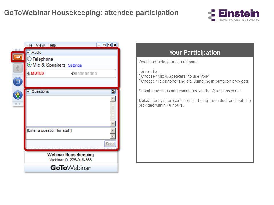 GoToWebinar Housekeeping: attendee participation