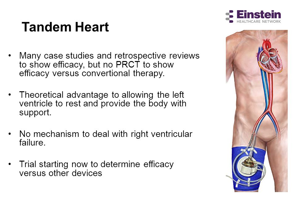 Tandem Heart Many case studies and retrospective reviews to show efficacy, but no PRCT to show efficacy versus convertional therapy.