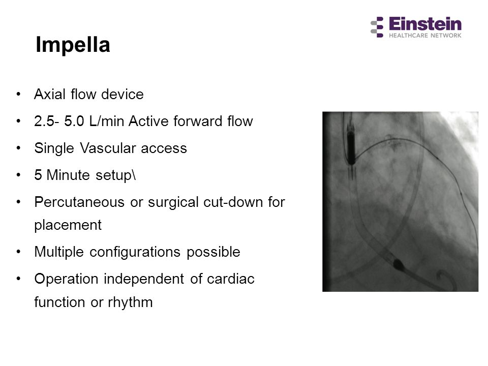 Impella Axial flow device L/min Active forward flow