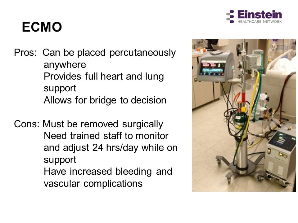 ECMO Pros: Can be placed percutaneously anywhere