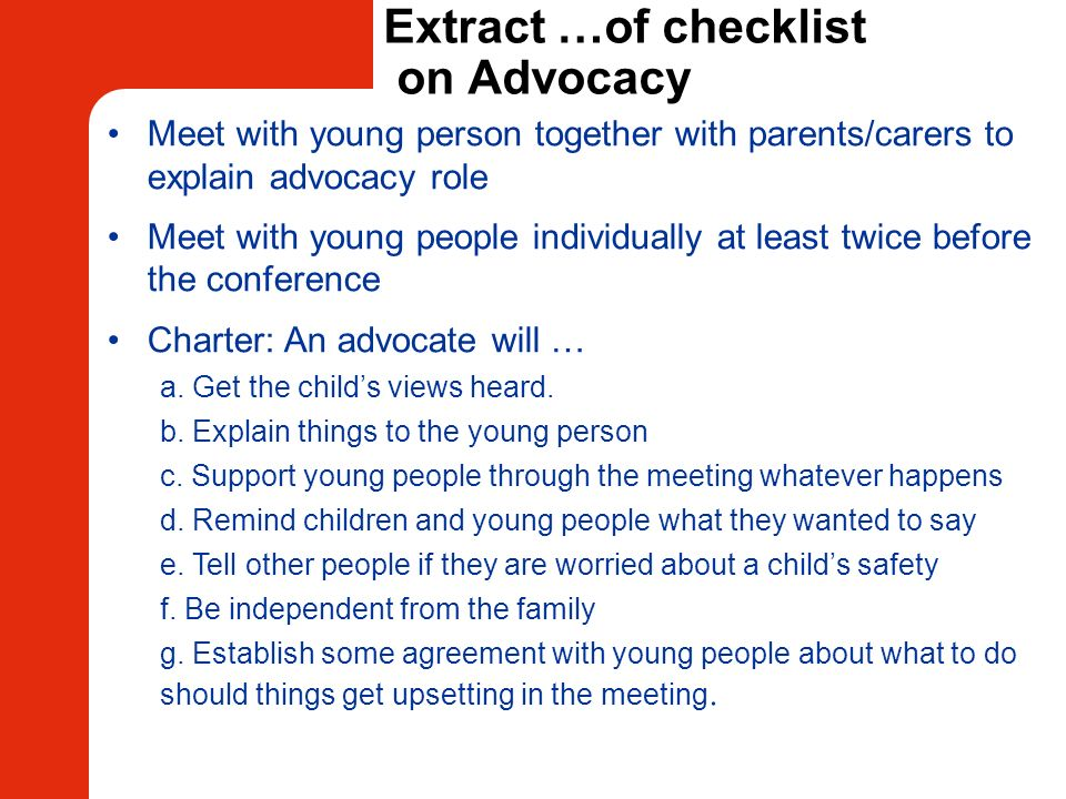 Extract …of checklist on Advocacy