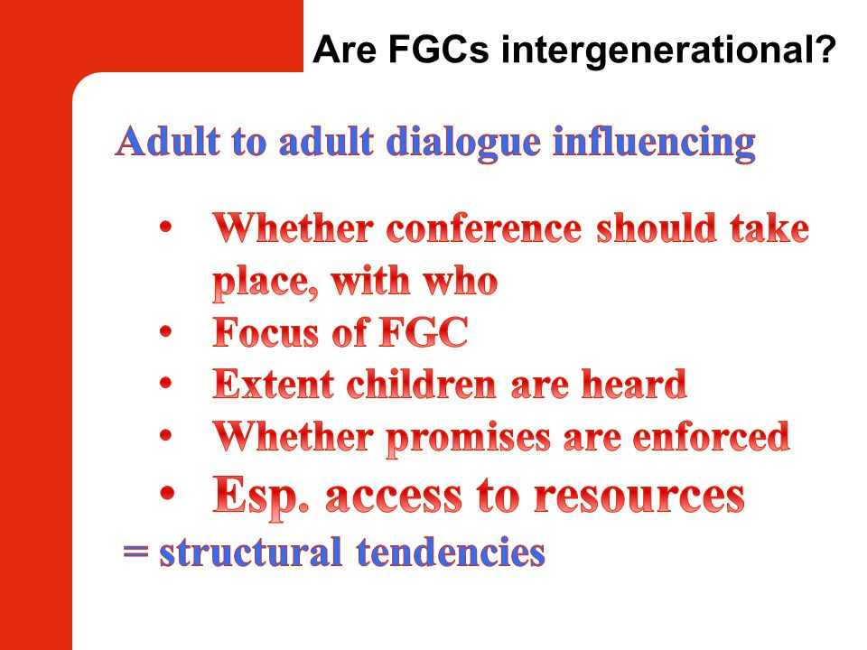 Are FGCs intergenerational