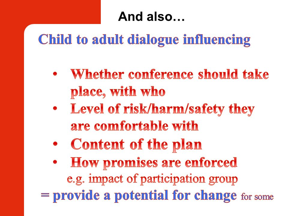 Content of the plan Child to adult dialogue influencing