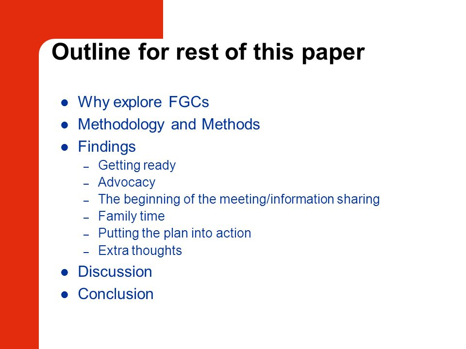 Outline for rest of this paper