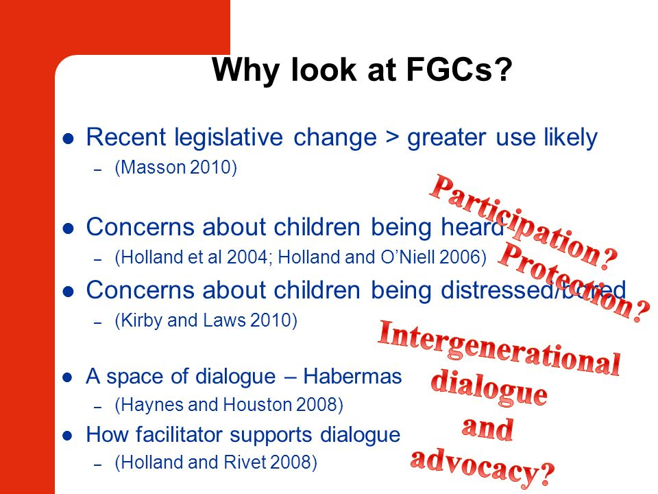 Why look at FGCs Participation Protection Intergenerational