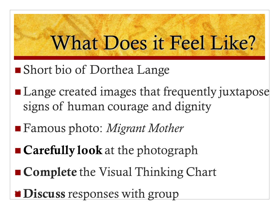 What Does it Feel Like Short bio of Dorthea Lange