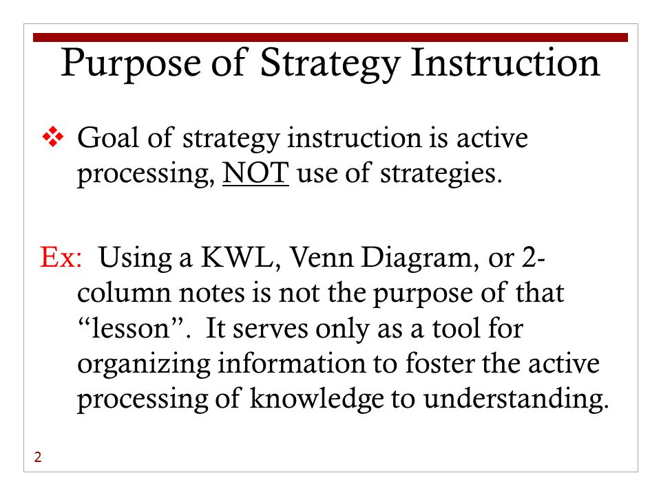 Purpose of Strategy Instruction