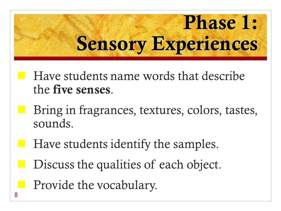 Phase 1: Sensory Experiences