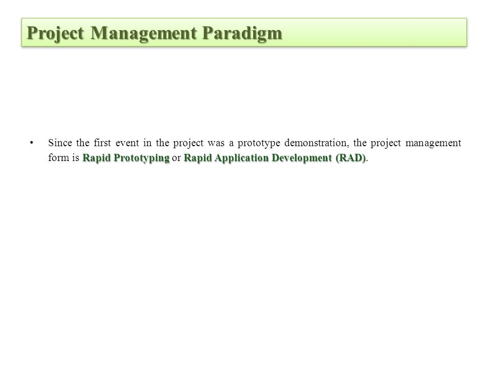 Project Management Paradigm