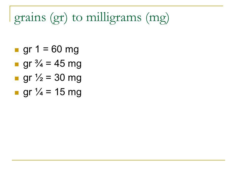 grains (gr) to milligrams (mg)