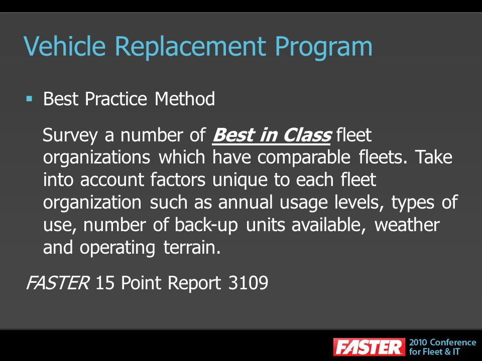 Vehicle Replacement Program