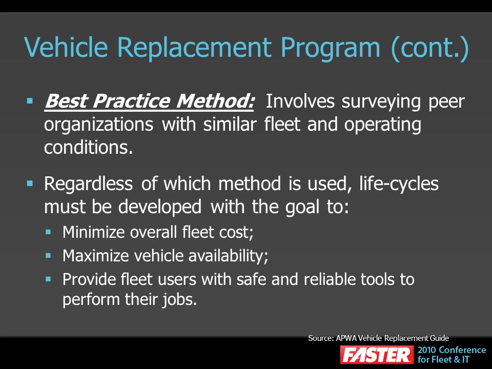 Vehicle Replacement Program (cont.)