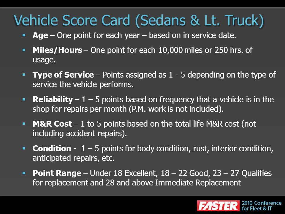 Vehicle Score Card (Sedans & Lt. Truck)