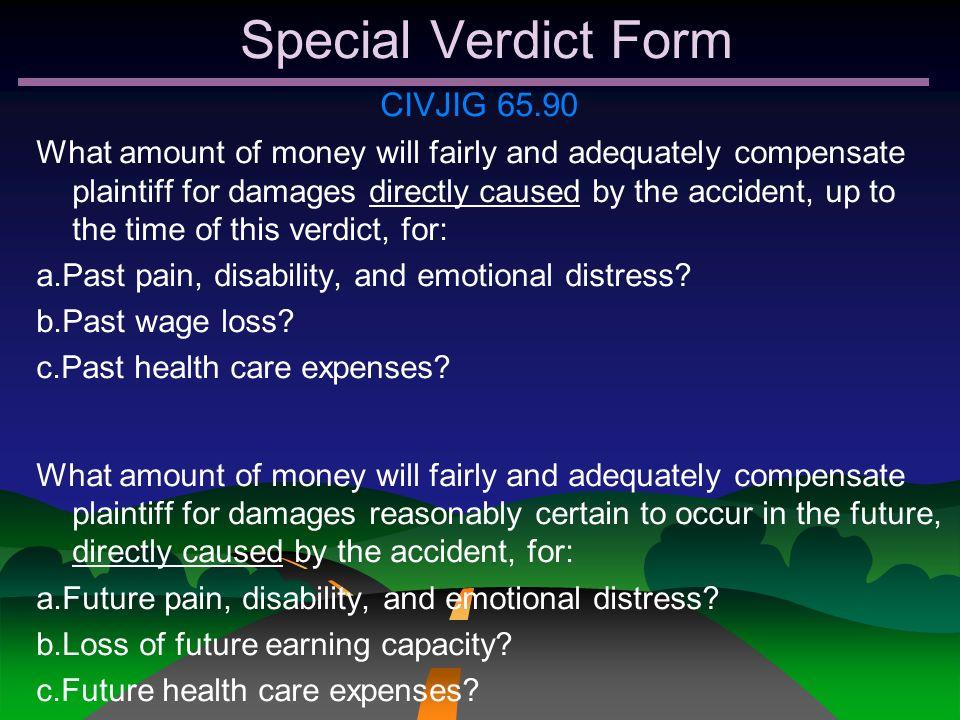 Special Verdict Form CIVJIG 65.90