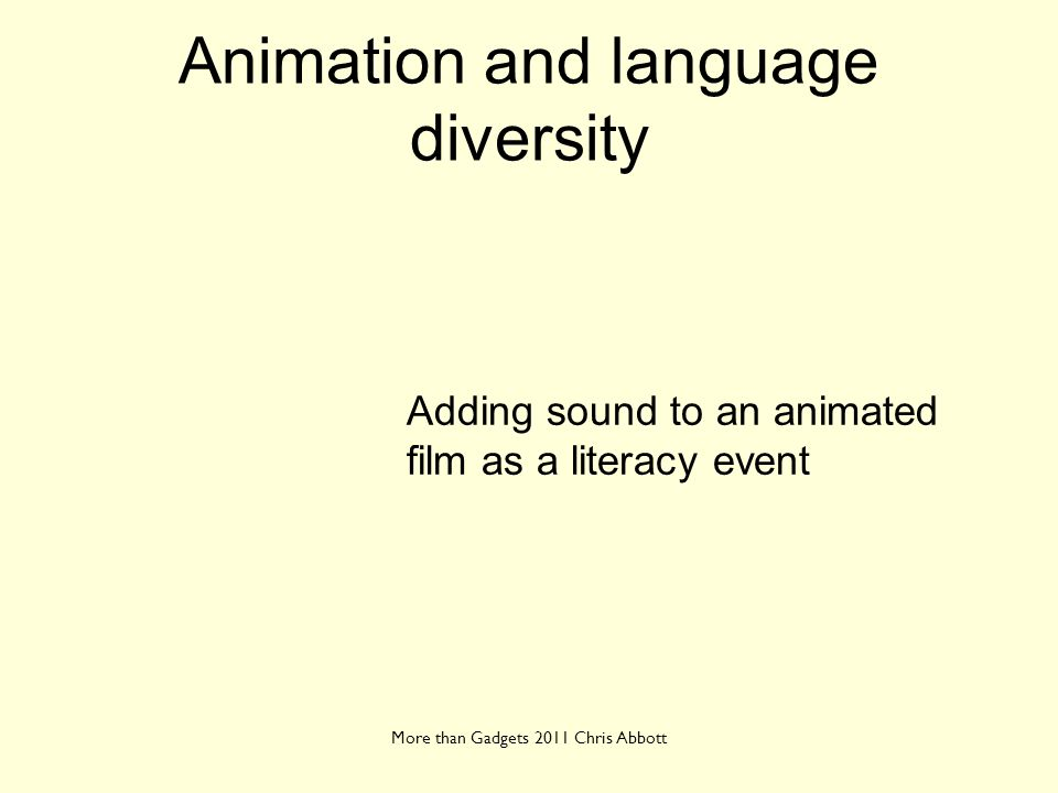 Animation and language diversity