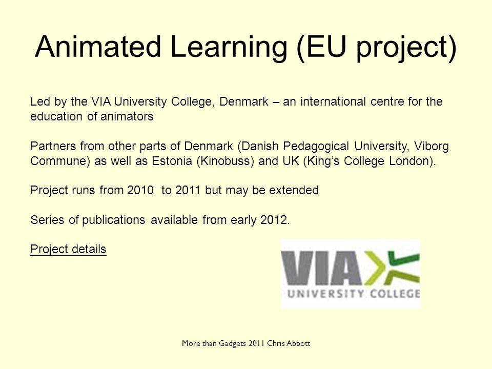 Animated Learning (EU project)
