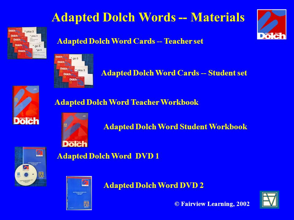 Adapted Dolch Words -- Materials