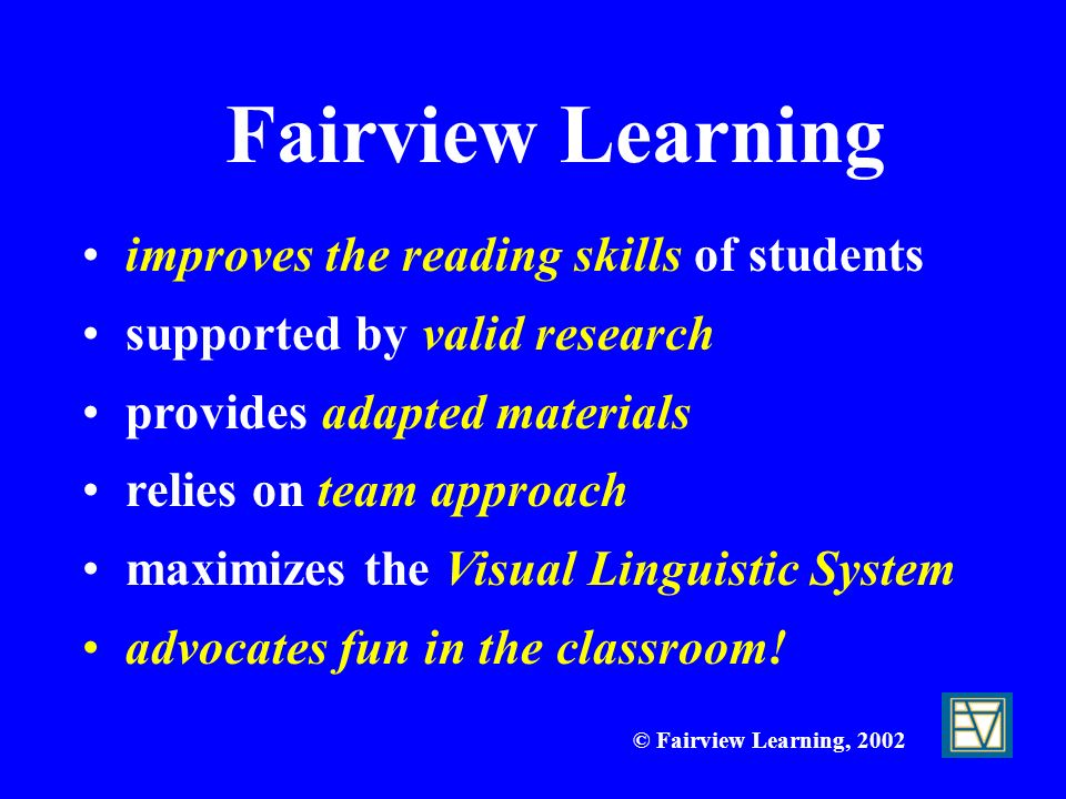 Fairview Learning improves the reading skills of students