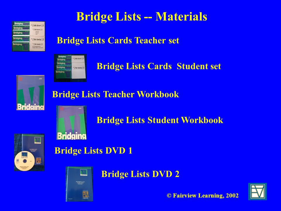 Bridge Lists -- Materials