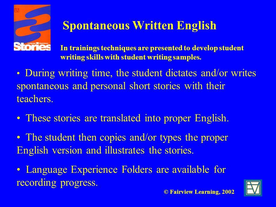 Spontaneous Written English
