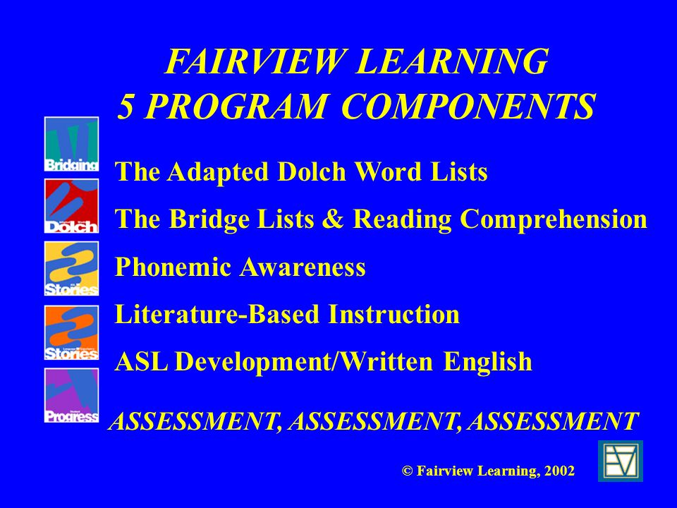 FAIRVIEW LEARNING 5 PROGRAM COMPONENTS