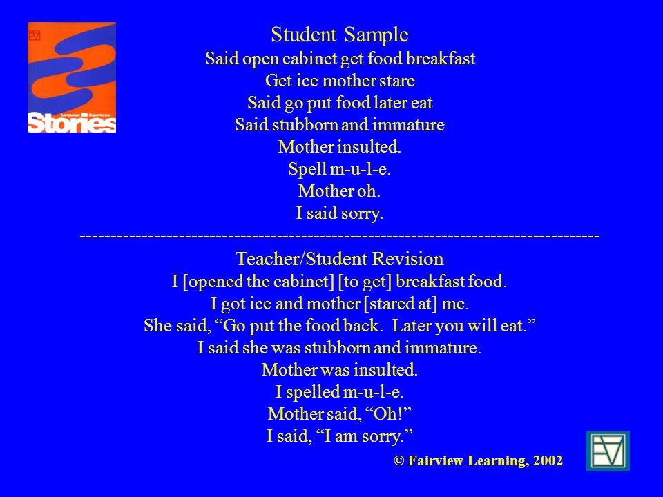 Student Sample Teacher/Student Revision