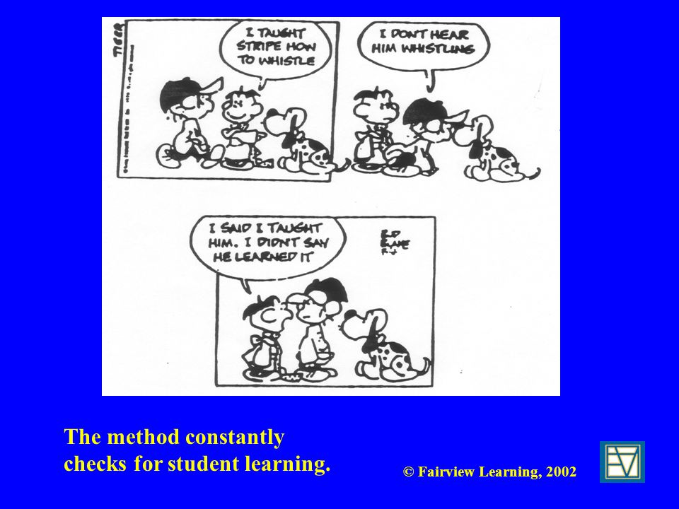 The method constantly checks for student learning.