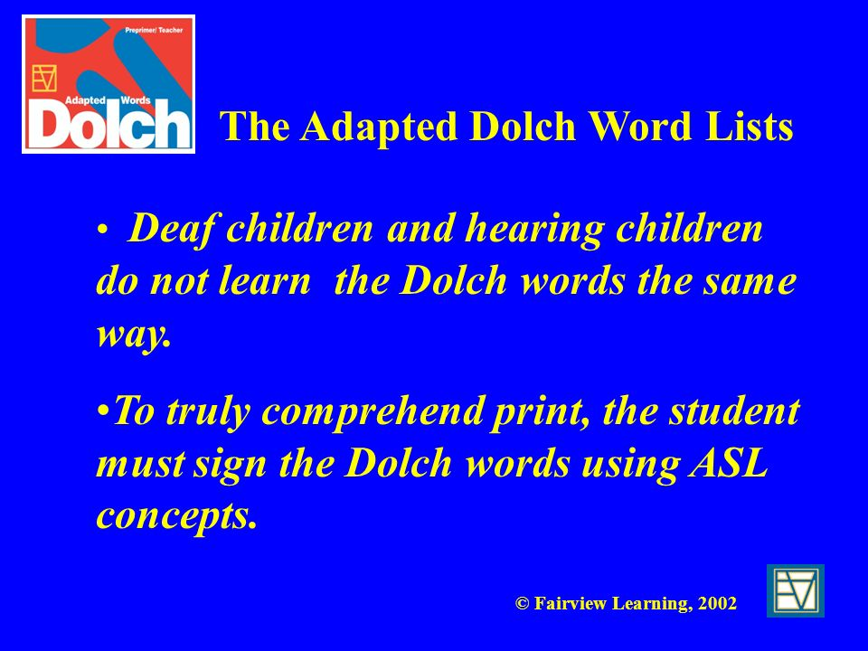 The Adapted Dolch Word Lists
