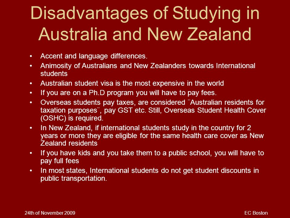 Disadvantages of Studying in Australia and New Zealand
