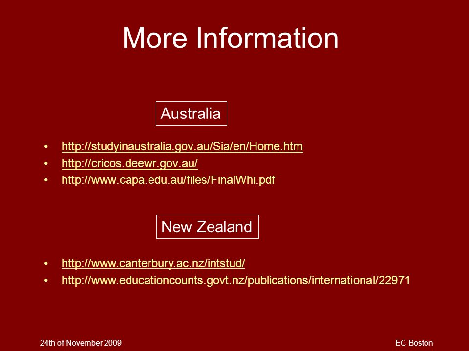 More Information Australia New Zealand